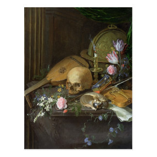 A Vanitas Still Life with a Nautilus and a Lute Postcard