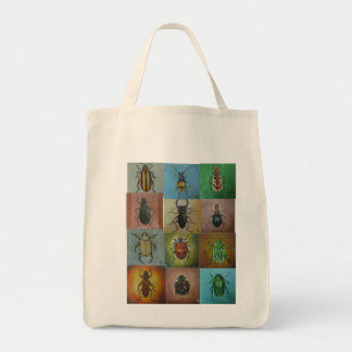 A variety of beetles in a beautiful pattern grocery tote bag