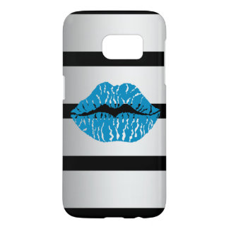 A vector drawing of lips on a stripe background