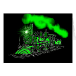 A Very Bright Neon Green Train Engine Card