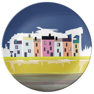 A Very British Seaside. Beach home scenic plate