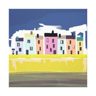 A Very British Seaside. Colourful beach homes Canvas Print