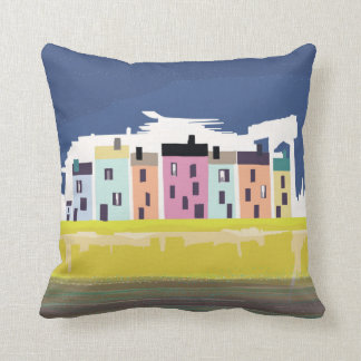 A Very British Seaside. Colourful beach houses Cushion