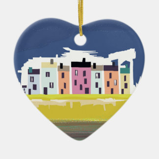 A Very British Seaside. Scenic color beach houses Ceramic Heart Decoration