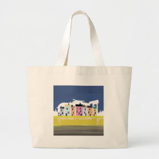 A Very British Seaside. Scenic color beach houses Large Tote Bag