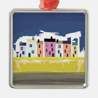 A Very British Seaside. Scenic color beach houses Silver-Colored Square Decoration