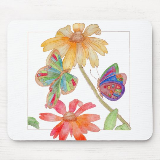 A very colourful floral-style mouse pad