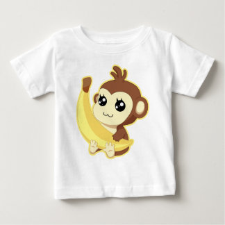 A very cute and kawaii monkey holding a banana baby T-Shirt