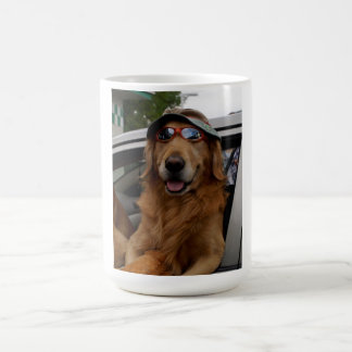 A very funny dog hanging out the car window! basic white mug