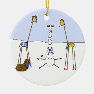 A Very Giraffe Christmas - Snowman Christmas Ornament