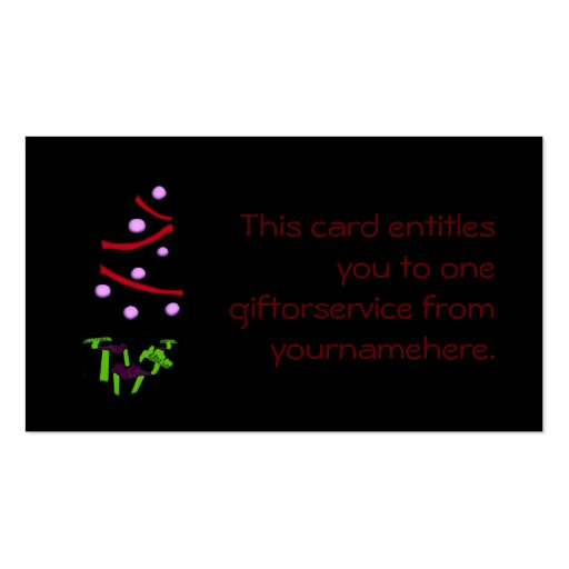 A Very Gothy Christmas Gift Token Business Cards