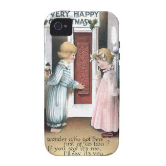 A Very Happy Christmas Vintage Greeting Card iPhone 4/4S Covers