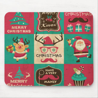 A Very Manly Christmas Collage Mouse Pad