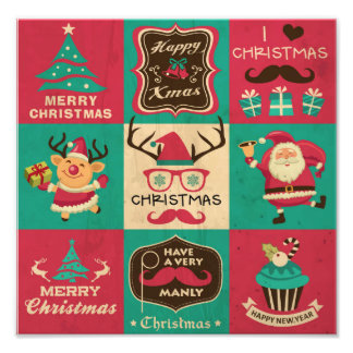A Very Manly Christmas Moustache Collage Photographic Print