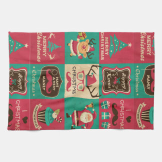 A Very Manly Christmas Moustache Collage Tea Towel
