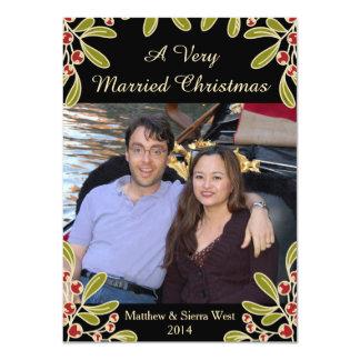 "A Very Married Christmas Mistletoe Photo Card 4.5"" X 6.25"" Invitation Card"