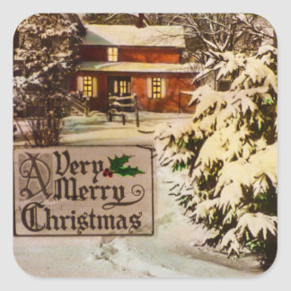A Very Merry Christmas Classic Traditional Winter Square Sticker