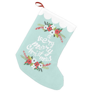 A Very Merry Christmas Floral Mint Small Christmas Stocking