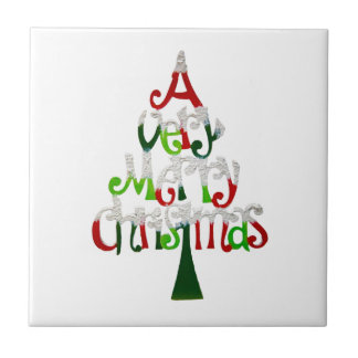 A Very Merry Christmas Small Square Tile