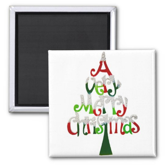 A Very Merry Christmas Square Magnet
