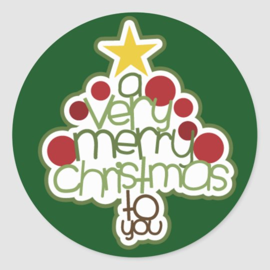 A Very Merry Sticker, Glossy Classic Round Sticker