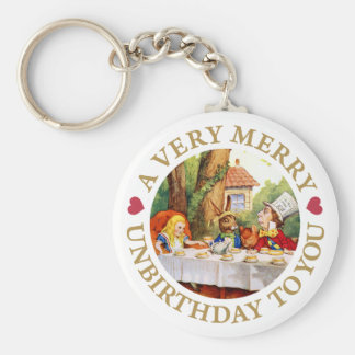 A VERY MERRY UNBIRTHDAY TO YOU! BASIC ROUND BUTTON KEY RING