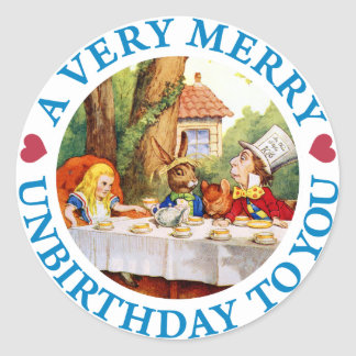 A VERY MERRY UNBIRTHDAY TO YOU ROUND STICKER