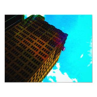 A vibrant and tall building against the  blue sky 11 cm x 14 cm invitation card