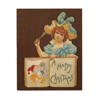 A Victorian Merry Christmas; girl with pencils Wood Wall Decor