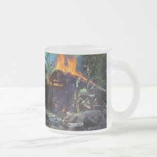 A Viet Cong Base Camp Being Burned in Vietnam War Frosted Glass Mug