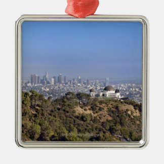 A view from a hiking trail in Griffith Park Silver-Colored Square Decoration