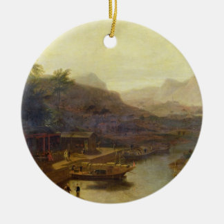 A View in China: Cultivating the Tea Plant, c.1810 Round Ceramic Decoration