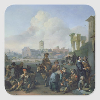 A View in Rome, 1668 Square Sticker