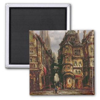 A View in the Jewish Quarter, Frankfurt, 1877 (oil Magnet
