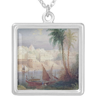 A View of an Indian city Silver Plated Necklace