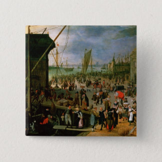 A View of Antwerp harbour 15 Cm Square Badge