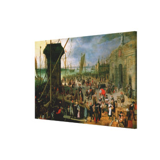 A View of Antwerp harbour Canvas Print