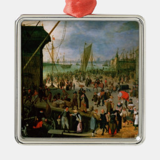 A View of Antwerp harbour Christmas Ornament