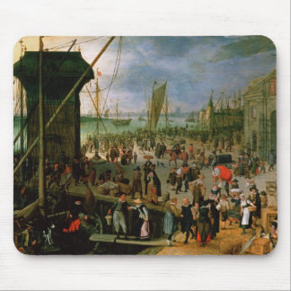 A View of Antwerp harbour Mouse Mat