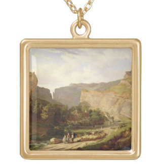 A View of Cheddar Gorge (oil on canvas) Square Pendant Necklace