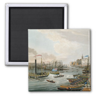 A View of London Bridge and the Custom House Square Magnet