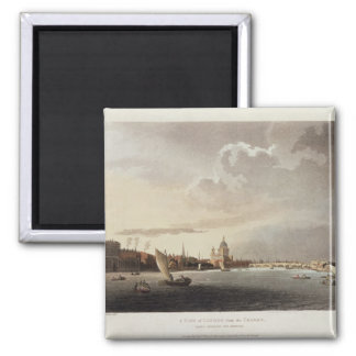 A View of London from the Thames, 1809 Square Magnet
