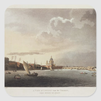 A View of London from the Thames, 1809 Square Sticker