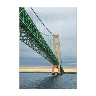 A view of Mackinac Bridge from Lake Michigan 2 Canvas Print