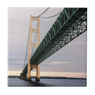 A view of Mackinac Bridge from Lake Michigan 2 Small Square Tile