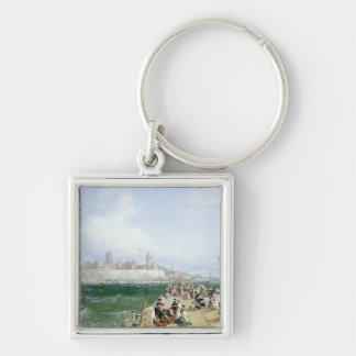 A View of Margate from the Pier, 1868 Silver-Colored Square Key Ring