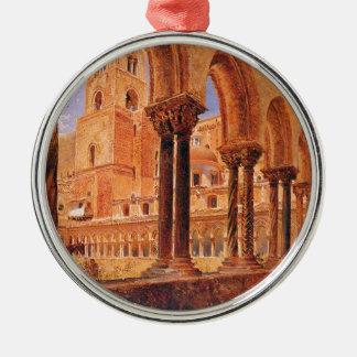 A View Of Monreale, Above Palermo Rudolf von Alt Silver-Colored Round Decoration