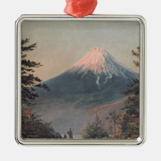 A View of Mount Fusiyama with Figures in the Foreg Silver-Colored Square Decoration