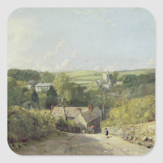 A View of Osmington Village with the Church and Vi Square Sticker