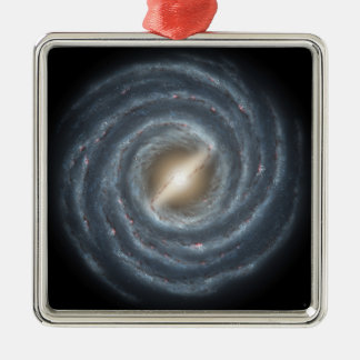 A view of our own Milky Way Galaxy Silver-Colored Square Decoration
